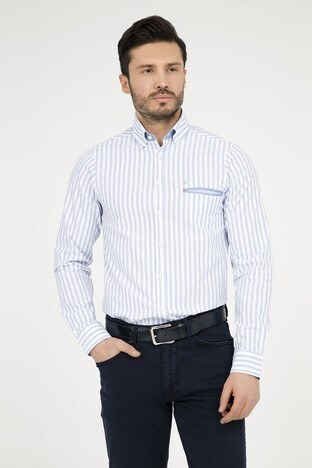 Abbate - ABBATE Erkek Uzun Kollu Gömlek 1GM72UK0706S 554 AÇIK MAVİ