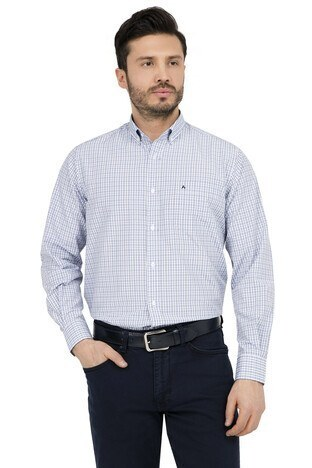 Abbate - ABBATE Erkek Uzun Kollu Gömlek 1GM91UK1234R 580 KOYU MAVİ