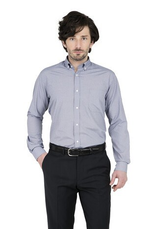 Abbate - ABBATE Erkek Uzun Kollu Gömlek 1GM91UK1262R 506 LACİVERT