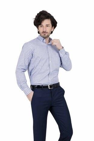 Abbate - ABBATE Erkek Uzun Kollu Gömlek 1GM91UK1263R 567 ORTA-MAVİ
