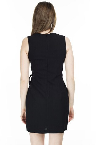 Ayhan Bağlama Detaylı Kruvaze Yaka Mini Bayan Elbise 04660477 SİYAH-EKRU