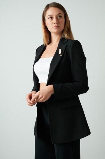 Ayhan Broşlu Klasik Bayan Ceket 04690436 DK SİYAH