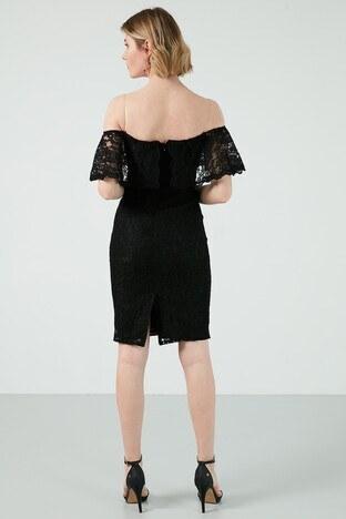 Ayhan Dantelli Carmen Yaka Yırtmaçlı Mini Bayan Elbise 04660699 SİYAH