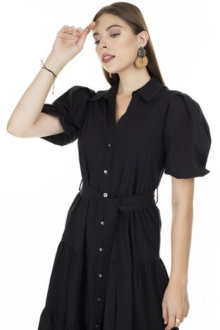 Ayhan Gömlek Yaka Bayan Elbise 04661462 SİYAH