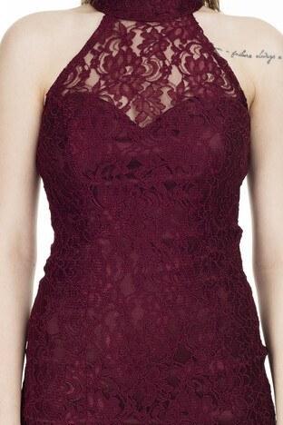 Ayhan Halter Yaka Dantel Detaylı Bayan Elbise 04661219 BORDO