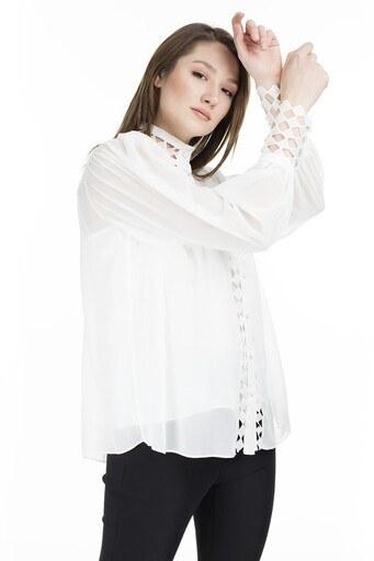 Ayhan Kolları Tül Bayan Gömlek 04650393 BEYAZ