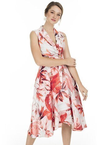 Ayhan Kruvaze Yaka Bayan Elbise 04661311 Nar-Ekru