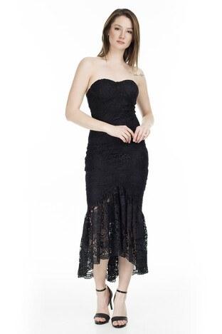 Ayhan Straplez Bayan Elbise 04661000 SİYAH
