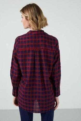 Ayhan Taş Detaylı Kareli Bayan Gömlek 04650521 LACİVERT-KIRMIZI