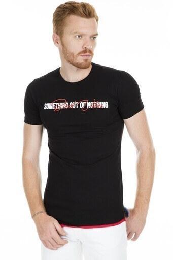 Breezy Baskılı Bisiklet Yaka Erkek T Shirt 2019150 SİYAH