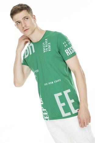Breezy Baskılı Bisiklet Yaka Erkek T Shirt 2019179 YEŞİL