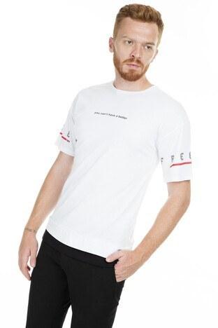 Breezy Baskılı Bisiklet Yaka Erkek T Shirt 2040119 BEYAZ
