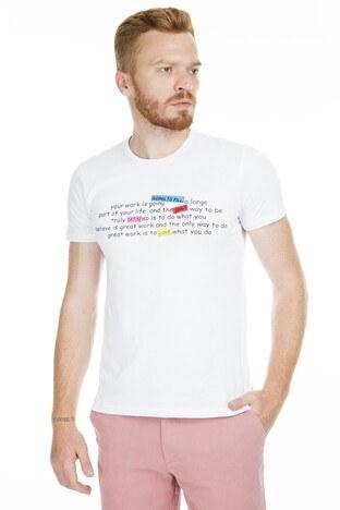 Breezy - Breezy Baskılı Bisiklet Yaka Erkek T Shirt 2040167 BEYAZ