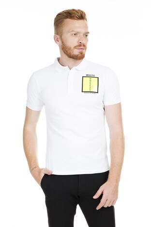 Breezy - Breezy Düğmeli Polo Yaka Erkek T Shirt 2040173 BEYAZ