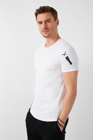 Buratti - Buratti % 100 Pamuklu Bisiklet Yaka Erkek T Shirt 5902279 BEYAZ