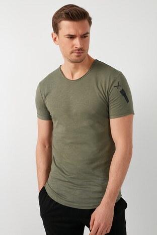 Buratti - Buratti % 100 Pamuklu Bisiklet Yaka Erkek T Shirt 5902279 HAKİ