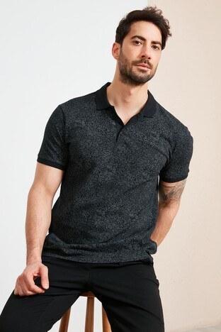 Buratti - Buratti % 100 Pamuklu Desenli Yaka T Shirt Erkek Polo 5968004 SİYAH-GRİ