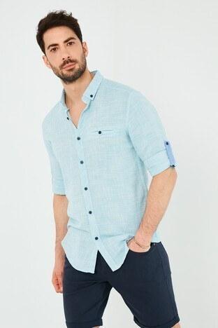 Buratti % 100 Pamuklu Slim Fit Uzun Kollu Erkek Gömlek CF21S111498 TURKUAZ