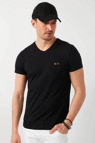 Buratti % 100 Pamuklu V Yaka Erkek T Shirt 5902076 SİYAH