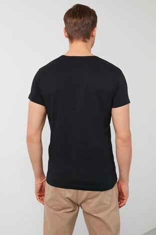 Buratti Baskılı Bisiklet Yaka % 100 Pamuk Erkek T Shirt 541FICTION SİYAH