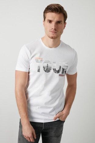 Buratti Baskılı Bisiklet Yaka % 100 Pamuk Erkek T Shirt 5721004 BEYAZ