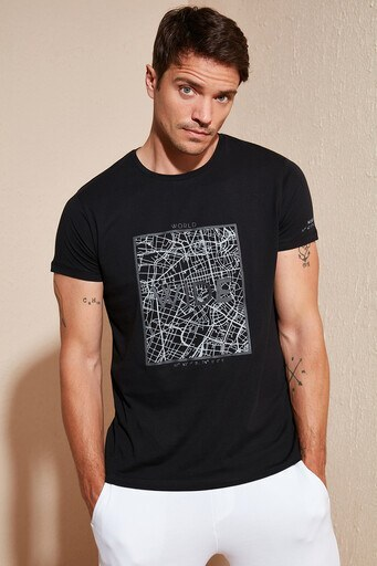 Buratti Baskılı Bisiklet Yaka Erkek T Shirt 54115 SİYAH