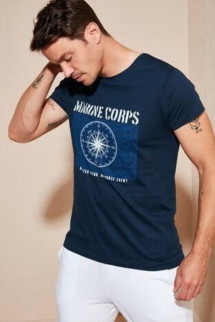 Buratti Baskılı Bisiklet Yaka Erkek T Shirt 54116 LACİVERT