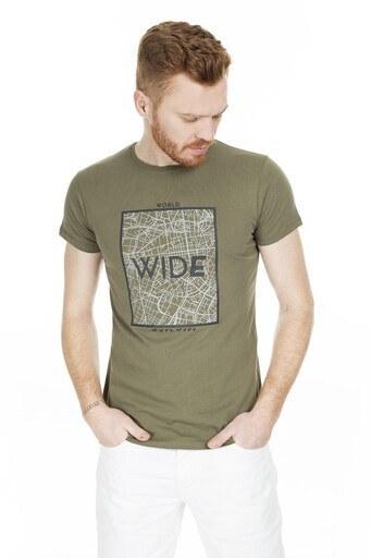 Buratti Baskılı Bisiklet Yaka Erkek T Shirt 54118 HAKİ