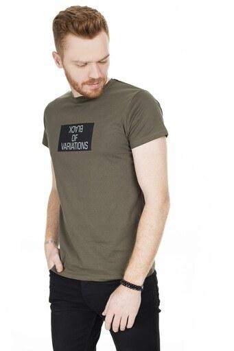 Buratti Baskılı Bisiklet Yaka Erkek T Shirt 54132 HAKİ