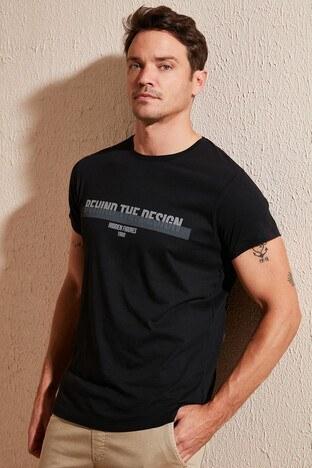 Buratti - Buratti Baskılı Bisiklet Yaka Erkek T Shirt 54138 SİYAH