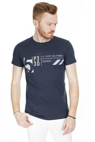 Buratti - Buratti Baskılı Bisiklet Yaka Erkek T Shirt 54149 LACİVERT