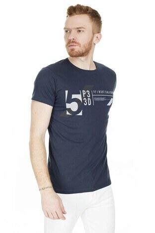 Buratti Baskılı Bisiklet Yaka Erkek T Shirt 54149 LACİVERT