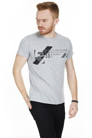 Buratti Baskılı Bisiklet Yaka Erkek T Shirt 54163 GRİ
