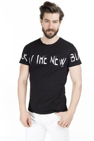 Buratti - Buratti Baskılı Bisiklet Yaka Erkek T Shirt 54179 SİYAH