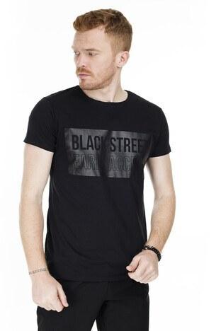 Buratti - Buratti Pamuklu Baskılı Bisiklet Yaka Slim Fit Erkek T Shirt 5412049BS SİYAH