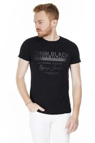 Buratti - Buratti Baskılı Bisiklet Yaka Slim Fit Erkek T Shirt 5412049TB SİYAH