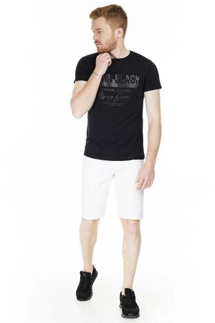 Buratti Baskılı Bisiklet Yaka Slim Fit Erkek T Shirt 5412049TB SİYAH