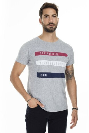 Buratti - Buratti Baskılı Bisiklet Yaka Slim Fit Erkek T Shirt 54142 GRİ