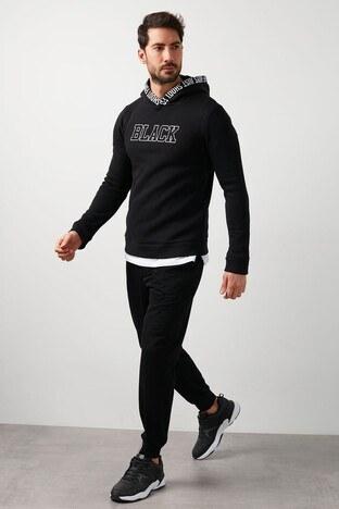 Buratti Baskılı Kapüşonlu Extra Slim Fit Erkek Sweat 575719 SİYAH