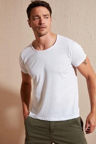 Buratti Bisiklet Yaka Erkek T Shirt 54171 BEYAZ
