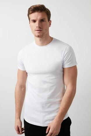 Buratti - Buratti Pamuklu Bisiklet Yaka Slim Fit Erkek T Shirt 5412018D BEYAZ