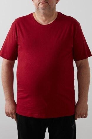 Buratti Büyük Beden - Buratti Büyük Beden % 100 Pamuklu Bisiklet Yaka Erkek T Shirt 4362084B BORDO