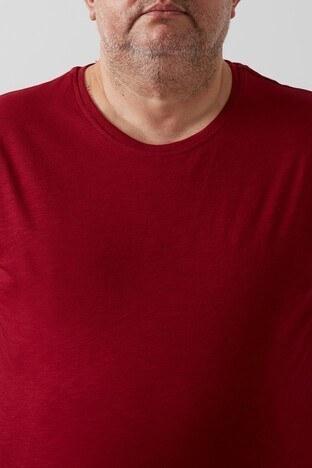 Buratti Büyük Beden % 100 Pamuklu Bisiklet Yaka Erkek T Shirt 4362084B BORDO