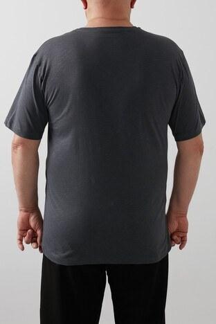 Buratti Büyük Beden % 100 Pamuklu Bisiklet Yaka Erkek T Shirt 4362084B FÜME