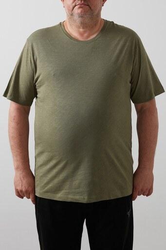 Buratti Büyük Beden % 100 Pamuklu Bisiklet Yaka Erkek T Shirt 4362084B HAKİ