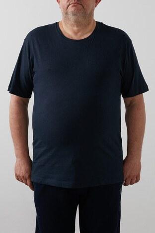 Buratti Büyük Beden % 100 Pamuklu Bisiklet Yaka Erkek T Shirt 4362084B LACİVERT