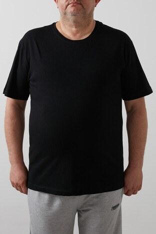 Buratti Büyük Beden % 100 Pamuklu Bisiklet Yaka Erkek T Shirt 4362084B SİYAH