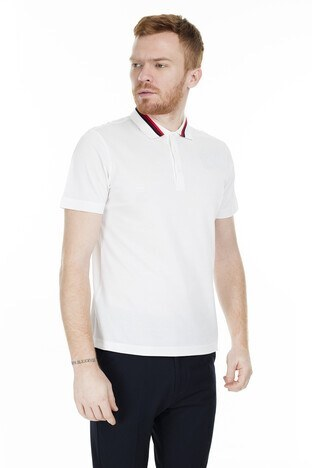 Buratti Büyük Beden Seçeneğiyle T Shirt Erkek Polo 566CF0013 BEYAZ-KIRMIZI