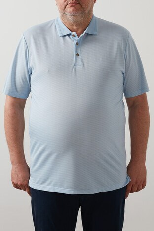 Buratti Büyük Beden - Buratti Büyük Beden T Shirt Erkek Polo 4362063B MAVİ