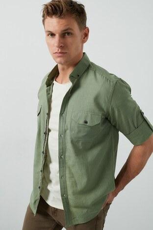 Buratti - Buratti Cepli Düğmeli Yaka % 100 Pamuk Erkek Gömlek CF20S111241 HAKİ
